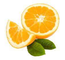 Free Close-up Cut Orange Fruit With Leaves Royalty Free Stock Image - 13742936
