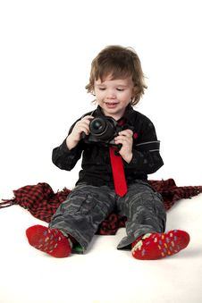 Free Little Boy With Camera Stock Image - 13743011