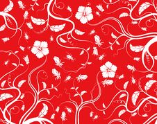 Free Red Seamless Flower Pattern Stock Image - 13743991