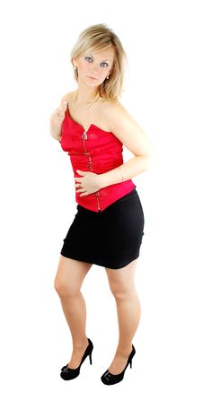 Free Lady In Red Corset Stock Image - 13744071