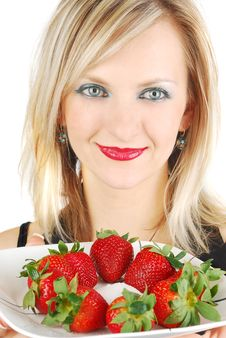 Free Beautiful Blond Girl And Strawberry Royalty Free Stock Photos - 13744298