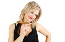 Free Blond Girl With Cigar Royalty Free Stock Image - 13744316