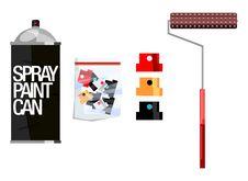 Free Vector Graffiti Spraycan Caps Roller Stencil Stock Image - 13744971