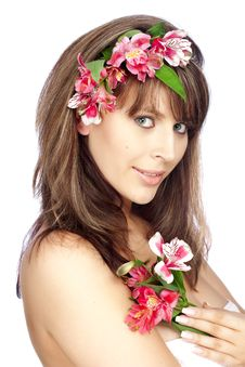 Free Girl With Wreath Of Flowers Stock Photo - 13745770