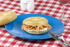 Bagel With Freshly Smoked Salmon Stock Images