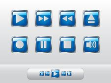 Glossy Blue Music Buttons Stock Photo