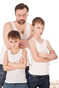 Father With His Two Sons Royalty Free Stock Photos