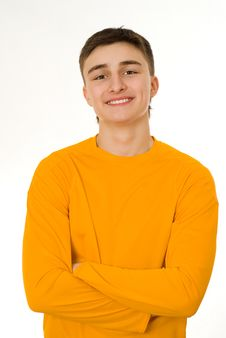 Free Young Man Standing On A White Stock Photography - 13746842