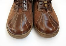 Close-up Of A Pair Of Brown Shoes Royalty Free Stock Photos