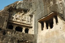 Free Ellora Cave Temple Complex ,India Royalty Free Stock Photo - 13748765
