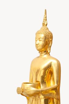 Free Isolated Golden Budha With Alms-bowl Royalty Free Stock Photography - 13748947