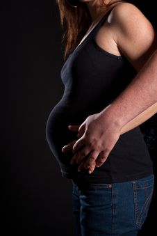 Free Young Couple With Pregnant Wife Royalty Free Stock Photo - 13749155
