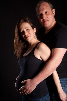 Free Young Couple With Pregnant Wife Stock Photo - 13749210