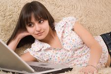 Free Beautiful Girl With A Laptop Royalty Free Stock Photography - 13749547
