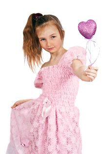 Little Girl With Pink Heart Stock Photos