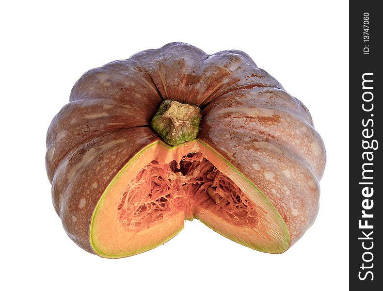 Cut pumpkin against a white background