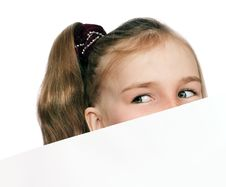 Free Girl Peeping Out Of The Card Stock Images - 13750194