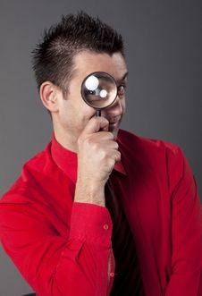 Free Businessman With Magnifying Glass Stock Photo - 13750510