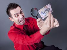 Free Businessman Looking At Banknote With Magnifying Gl Stock Photo - 13750540