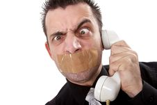 Free Funny Businessman With Tape On His Mouth Royalty Free Stock Photos - 13750638