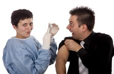 Free Funny Young Man Scared Of Injections Royalty Free Stock Image - 13750686