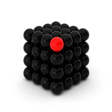 3d Render Of Cube With Unique Ball Royalty Free Stock Images