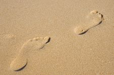 Free Pair Of Footprints In The Sand Stock Photos - 13752233