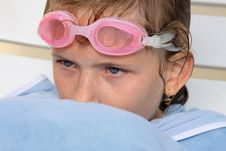 Young Girl Portrait After Swimming. Stock Photos
