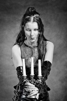 Free Gothic Girl With Candles Stock Photo - 13752390