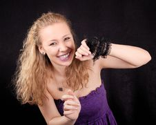 Portrait Of A Playful Girl Stock Photography