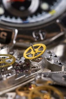 Free Mechanism Is Of Disassembled Wristwatch Stock Photography - 13754042
