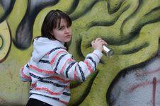 Free Teen Girl And Graffiti Royalty Free Stock Photo - 13754245