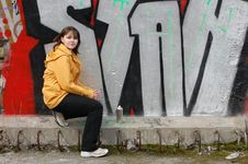 Free Teen Girl And Graffiti Stock Photo - 13754310