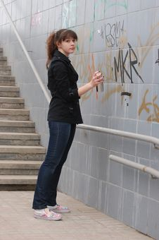 Teen Girl And Graffiti Royalty Free Stock Images