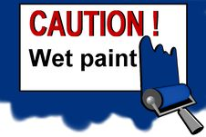 Free Caution - Wet Paint Warning Sign Royalty Free Stock Photography - 13754627