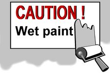 Free Caution - Wet Paint Warning Sign Stock Images - 13754634