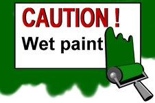 Free Caution - Wet Paint Warning Sign Royalty Free Stock Photos - 13754638