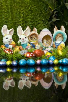 Easter Bunnies And Chocolate Easter Eggs Royalty Free Stock Image