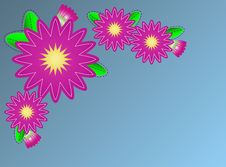 Free Vector Zinna Flower Border On Blue Copy Space Royalty Free Stock Photo - 13754875