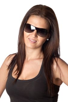 Free Attractive Young Woman With Sunglasses Royalty Free Stock Photo - 13755735