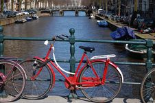 Free Bikes On A Bridge At The Water In Holland Royalty Free Stock Images - 13756059