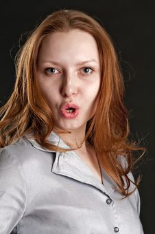 Free Portrait Of Redhead Girl Very Surprised Royalty Free Stock Photo - 13756565