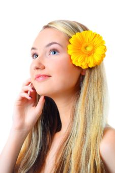 Free Portrait Of Blond Woman With Flower Royalty Free Stock Image - 13757006
