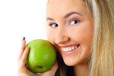 Free Woman With Green Apple. Royalty Free Stock Photography - 13757057