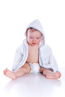 Free Little Cute Baby Boyl In Blue Bathrobe Royalty Free Stock Image - 13757676