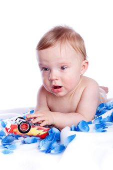 Free Baby Boy Playing With Red Car Stock Photography - 13757722