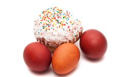 Easter Eggs And Easter Bread Stock Image
