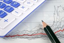 Graph, Pencil And Calculator Royalty Free Stock Images
