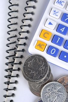 Document, Calculator And Coins Stock Images