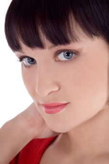 Picture Of Lovely Woman Over White Royalty Free Stock Photography